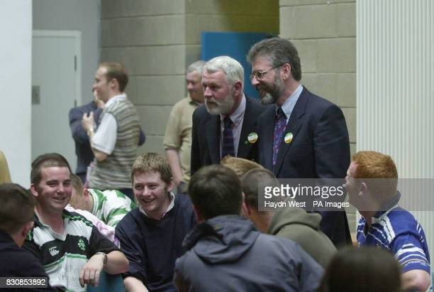 North Kerry candidate for Sinn Fein Martin Ferris with Sinn Fein President Gerry Adams canvassing at the Institute of Technology college in Tralee...