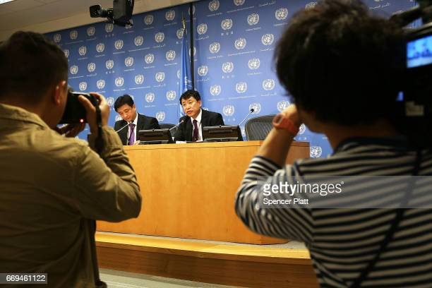 North Korea Deputy United Nations Ambassador Kim In Ryong speaks to the media at the UN on April 17 2017 in New York City Ambassador Ryong stated...