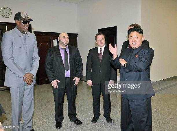 PYONGYANG North Korea Former US basketball star Dennis Rodman and North Korean leader Kim Jong Un are pictured at the Pyongyang Indoor Stadium on Jan...