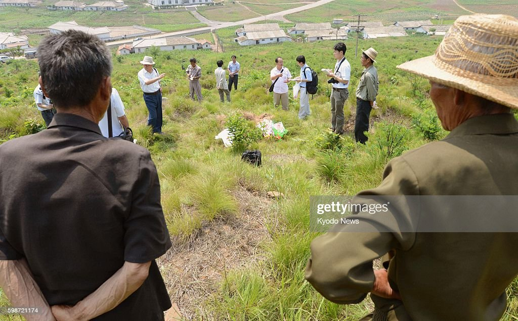 PYONGYANG North Korea Japanese journalists visit a site in the vicinity of Pyongyang which North Korea says accommodates the remains of Japanese...