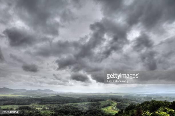 North Korea landscape under a cloudy sky