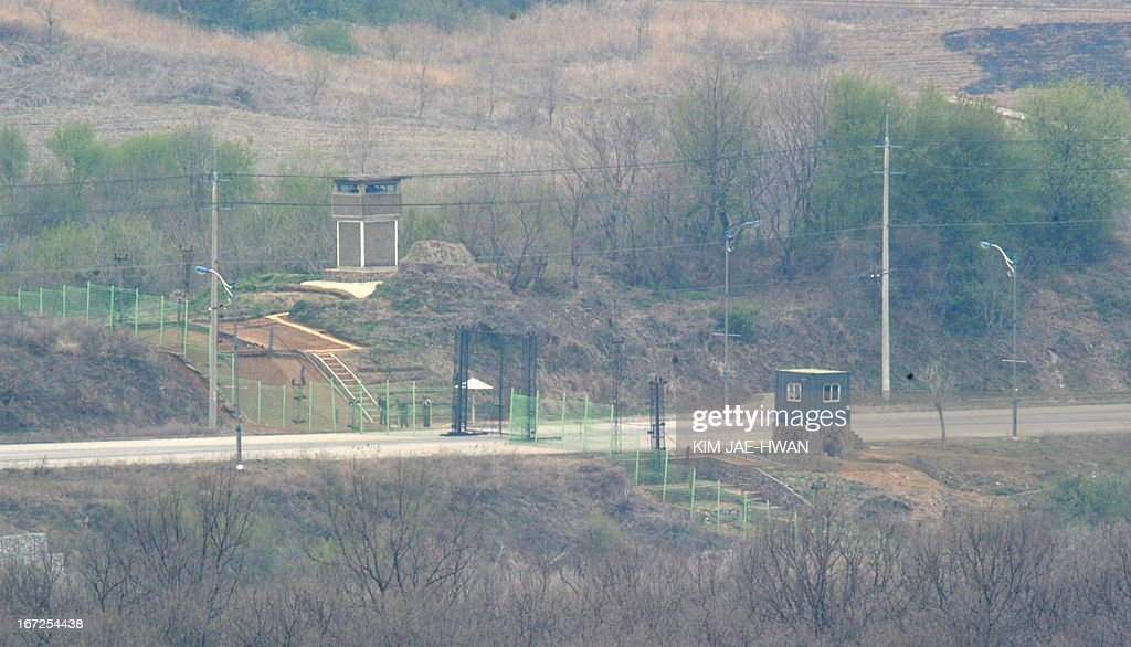A North Korea military chekpoint stand on the road leading to a closed Seoul-funded industrial complex in Kaesong north of the border on April 23, 2013. The complex, a symbol of inter-Korean cooperation, has been closed because of high military tensions for weeks.