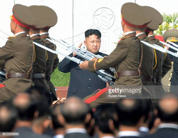 PYONGYANG North Korea North Korean leader Kim Jong Un salutes during a ceremony marking the completion of a cemetery for soldiers who died during the...