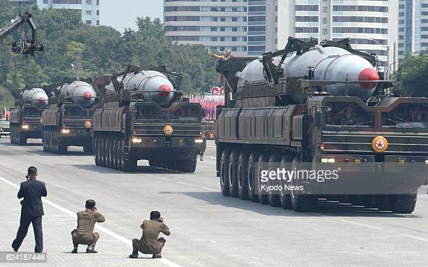 PYONGYANG North Korea Photo shows KN08 ballistic missiles in a military parade in Kim Il Sung Square Pyongyang on July 27 the 60th anniversary of the...