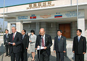 RASON North Korea Russian and North Korean railway officials attend a ceremony near Tumangang station in Rason North Korea on Oct 13 marking the...