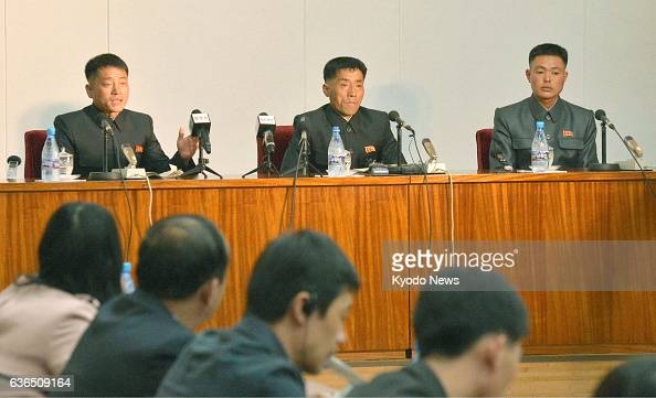 PYONGYANG North Korea Three North Korean fishermen detained by South Korea in the Yellow Sea and later released speak at a press conference in...