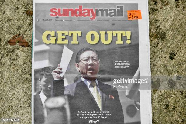 North Korean Ambassador Kang Chol pictured on cover paper of The Star newspaper on March 05 2017 in Kuala Lumpur Malaysia Mr Kang has accused...