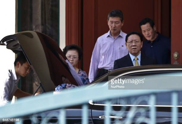 North Korean ambassador to Malaysia Kang Chol is seen with family members leaving the North Korean embassy in Kuala Lumpur on March 6 2017 Police...