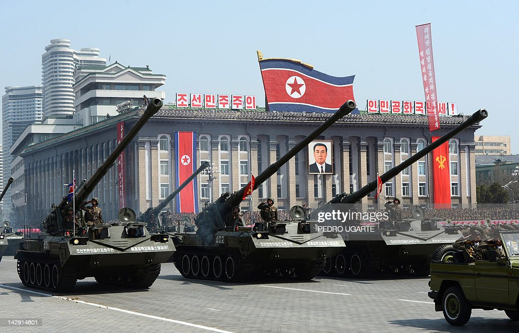 North Korean artillery units are displayed during a military parade to mark 100 years since the birth of the country's founder Kim IlSung in...