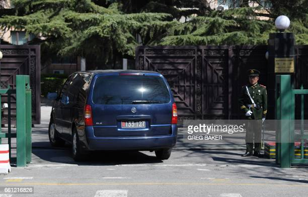 A North Korean embassy van drives into the embassy in Beijing on March 31 2017 A flight from Malaysia believed to be carrying the body of Kim JongNam...