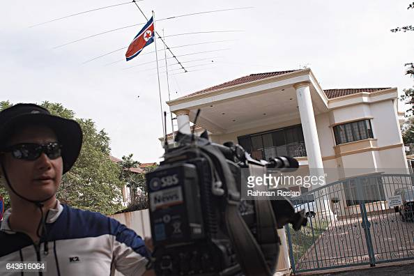 North Korean flag is seen at the North Korean Embassy compound as journalists camp outside on February 22 2017 in Kuala Lumpur Malaysia North Korean...