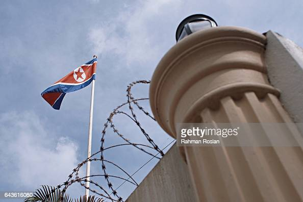 North Korean flag is seen at the North Korean Embassy compound on February 22 2017 in Kuala Lumpur Malaysia North Korean leader Kim Jong Un's older...