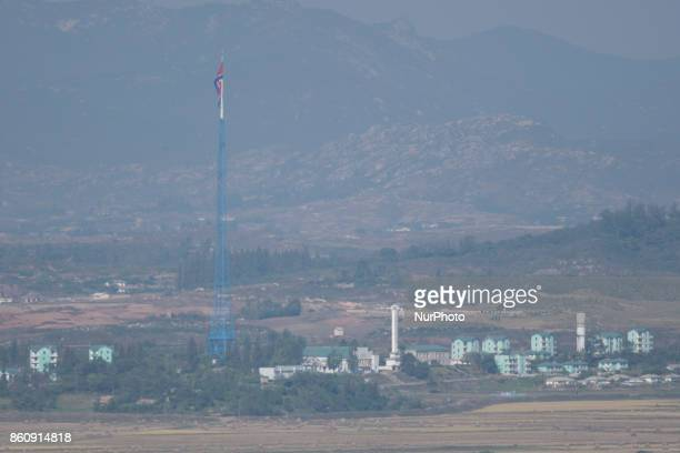 North Korean Gijungdong propaganda village with giant 160m flagpole visible from Dora Observatory in South Korea near the DMZ October 13 2017