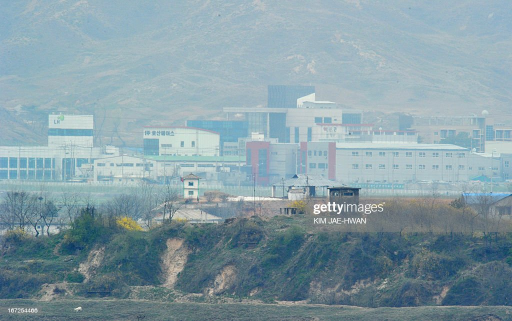 A North Korean guard post stands in front of a closed Seoul-funded industrial complex in Kaesong north of the border on April 23, 2013. Tensions simmer along the world's last Cold War frontier after weeks of hostile threats from North Korea and its preparations for potential missile launches.