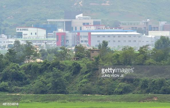 A North Korean guard post stands in front of the interKorean industrial complex of Kaesong as seen from the truce village of Panmunjom in the...