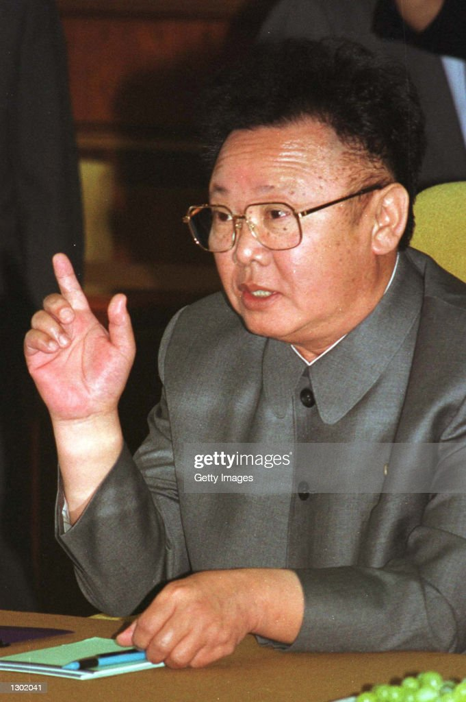 North Korean leader Kim Jongil gestures during second round talks with South Korean President Kim Daejung June 14 2000 at Baekhwawon State Guest...