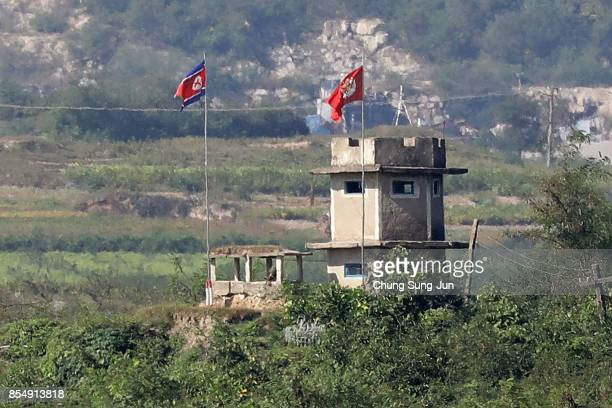 North Korean military check point is seen from an observation post on September 28 2017 in Panmunjom South Korea North Korean Foreign Minister Ri...