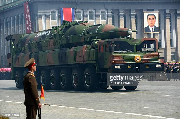 A North Korean missile Taepodong class is displayed during a military parade to mark 100 years since the birth of the country's founder Kim IlSung in...