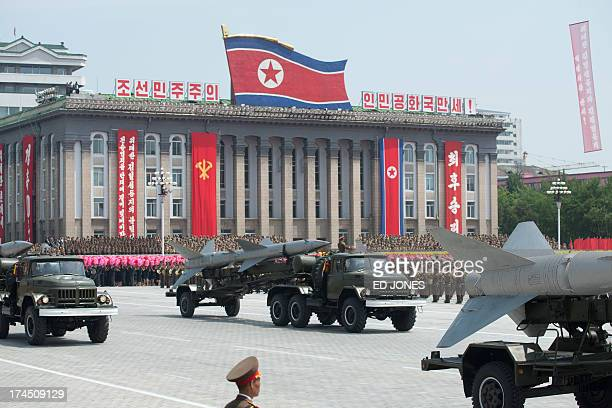 North Korean missiles are displayed during a military parade past Kim IlSung square marking the 60th anniversary of the Korean war armistice in...