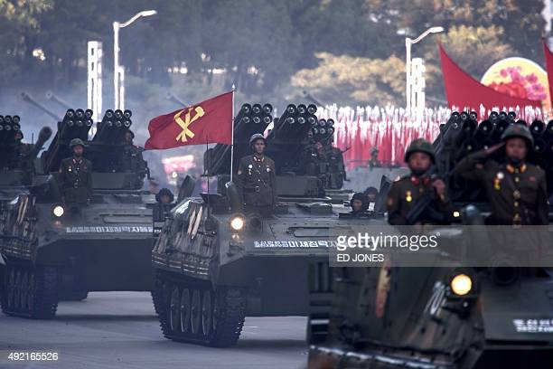 North Korean mobile rocket launchers are displayed during a mass military parade at Kim IlSung square in Pyongyang on October 10 2015 North Korea was...