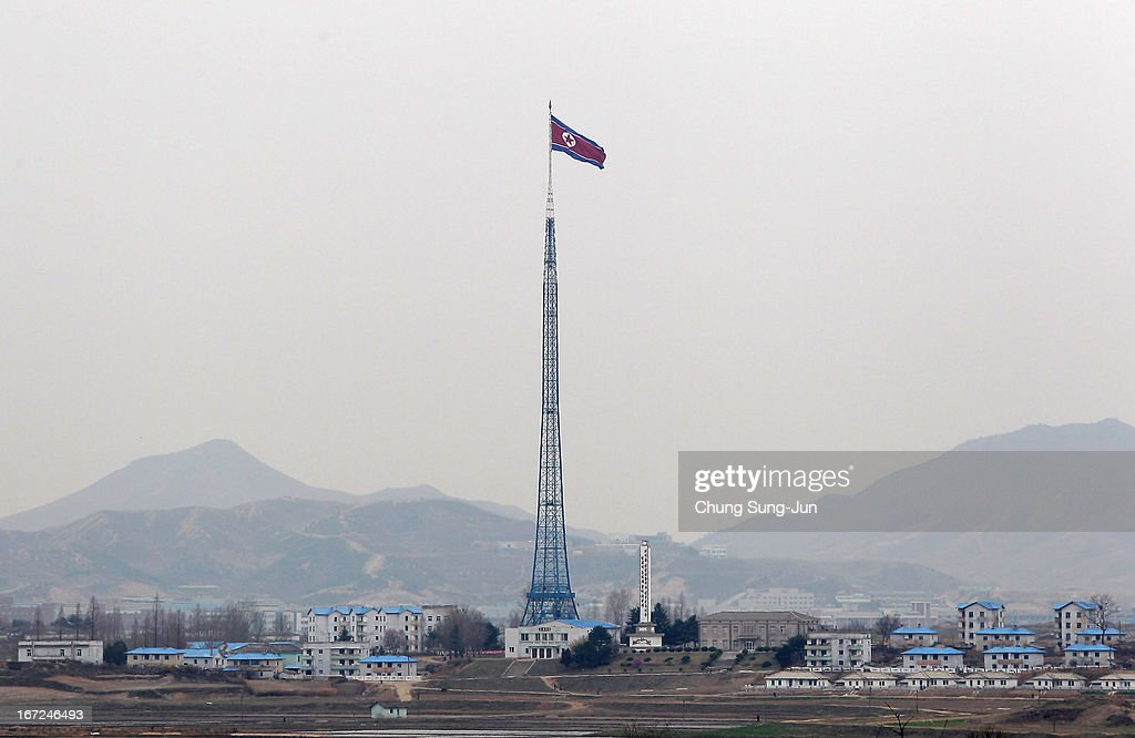 A North Korean national flag in North Korea's propaganda village of Gijungdong is seen from an observation post on April 23, 2013 in Panmunjom, South Korea. The tension at Korean Peninsula remains high as North Korea's ballistic missiles have been ready to launch ahead of North Korean Army foundation celebration day on April 25.