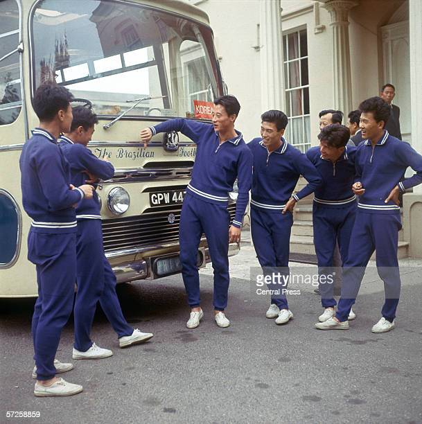 A North Korean player makes a thumbs down gesture at the Brazilian sign on their team coach during the 1966 World Cup in England July 1966