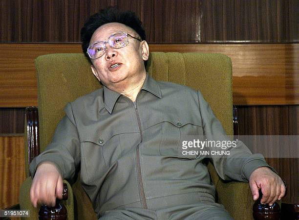 North Korean President Kim JongIl talks during a meeting with a visiting European Union delegation in Pyongyang 02 May 2001 A highlevel European...