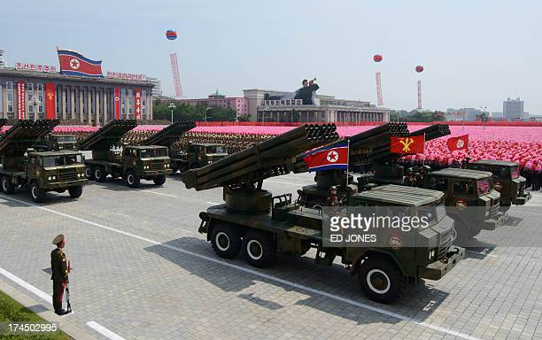 North Korean rocket launchers pass through Kim IlSung square during a military parade marking the 60th anniversary of the Korean war armistice in...