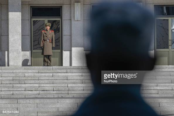 North Korean soldier stand guard to truce village at Panmunjom in Paju South Korea on February 18 2017