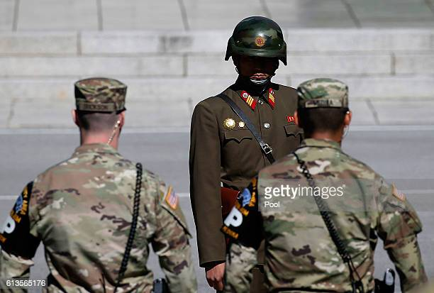 North Korean soldier stands guards as Samantha Power US Ambassador to the UN visits at the Military Demarcation Line in the border village of...