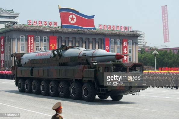 A North Korean Taepodongclass missile is displayed during a military parade past Kim IlSung square marking the 60th anniversary of the Korean war...
