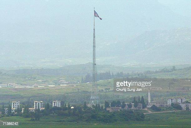 North Korean village is seen near the demilitarized zone separating North Korea from South Korea on July 7 2006 in South Korea North Korea has...