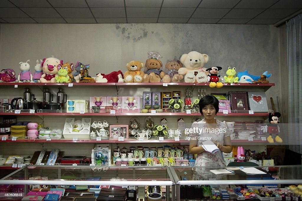 North Korean woman works as a shopkeeper in a knickknack shop located in the capital city Pyongyang 60 years after the Korean War it is clear that...