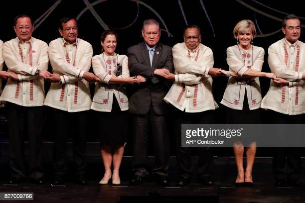 North Korea's Foreign Minister Ri Yong Ho Cambodia's Foreign Minister Prak Sokhonn Canada's Foreign Minister Chrystia Freeland Brunei's Foreign...