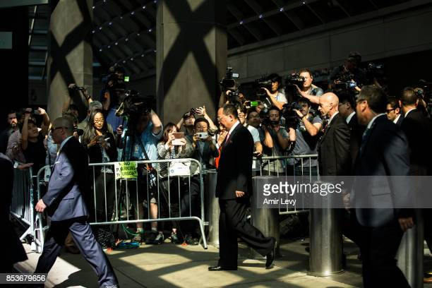 North Korea's Foreign Minister Ri YongHo departs after speaking to reporters at the UN Millenium Plaza hotel on September 25 2017 in New York City...