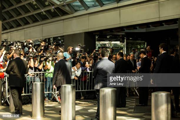 North Korea's Foreign Minister Ri YongHo speaks to reporters at the UN Millenium Plaza hotel on September 25 2017 in New York City The North Korean...