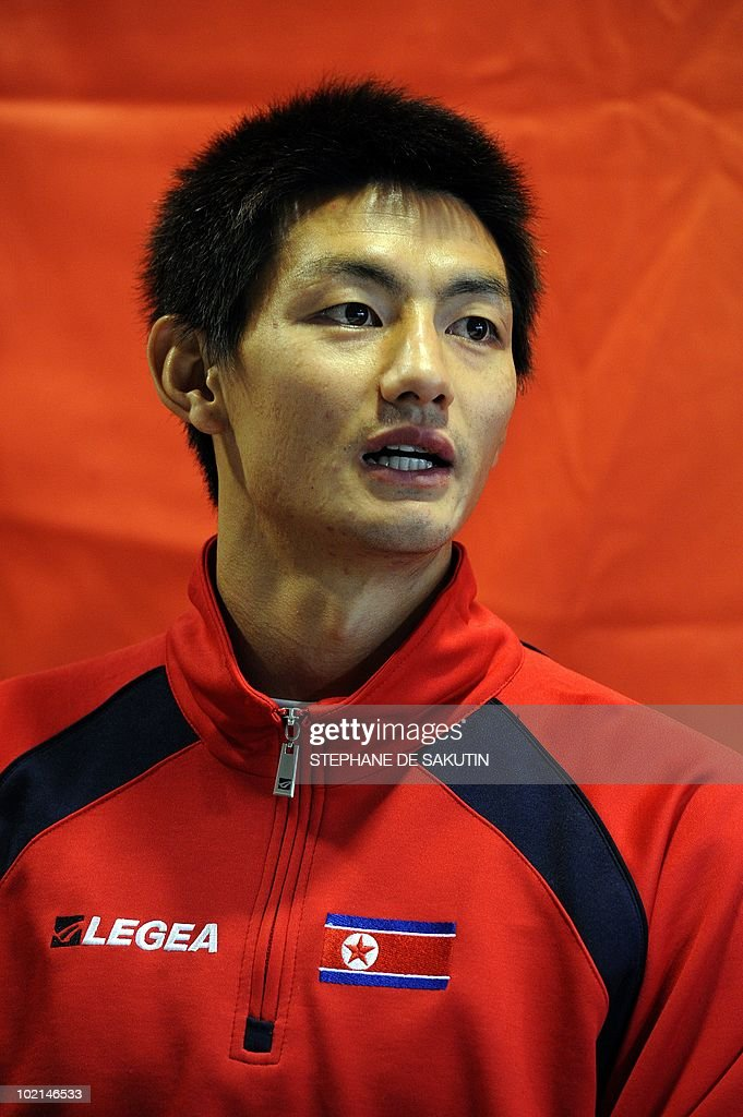 North Korea's midfielder An Young-Hak answers questions to journalists during a press conference at Makhulong stadium in Tembisa, South Africa on June 16, 2010 during the 2010 World Cup tournament.