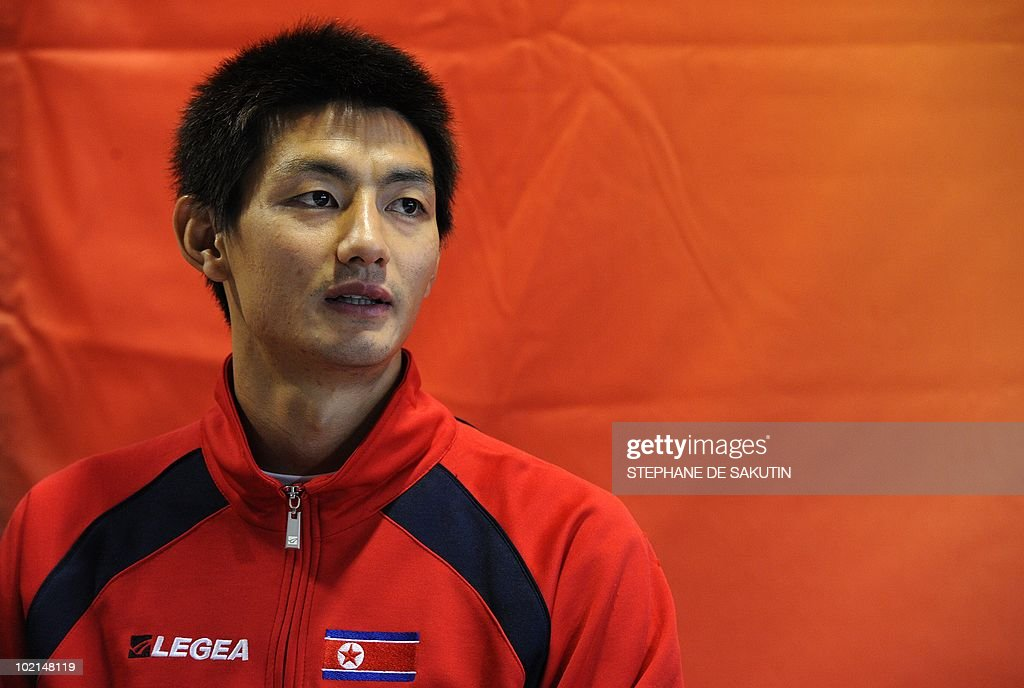 North Korea's midfielder An Young-Hak answers questions to journalists during a press conference at Makhulong stadium in Tembisa, South Africa on June 16, 2010 during the 2010 World Cup football tournament.