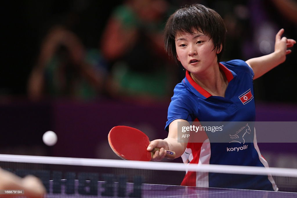 North Korea's Sun Ri Myong competes during the third round of the Women's Singles of the World Table Tennis Championships in Paris on May 16, 2013. North Korea's Sun Ri Myong plays against Japan's Kasumi Ishikawa.