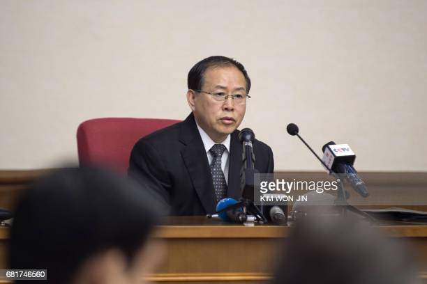 North Korea's vice foreign minister Han Song Ryol gives a briefing to foreign dipomats and the media at the People's Palace of Culture in Pyongyang...