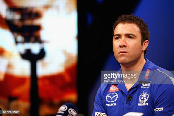 North Melbourne coach Brad Scott speaks to the media during the AFL Finals Series Launch press conference at Fox Sports Studion on September 8 2015...