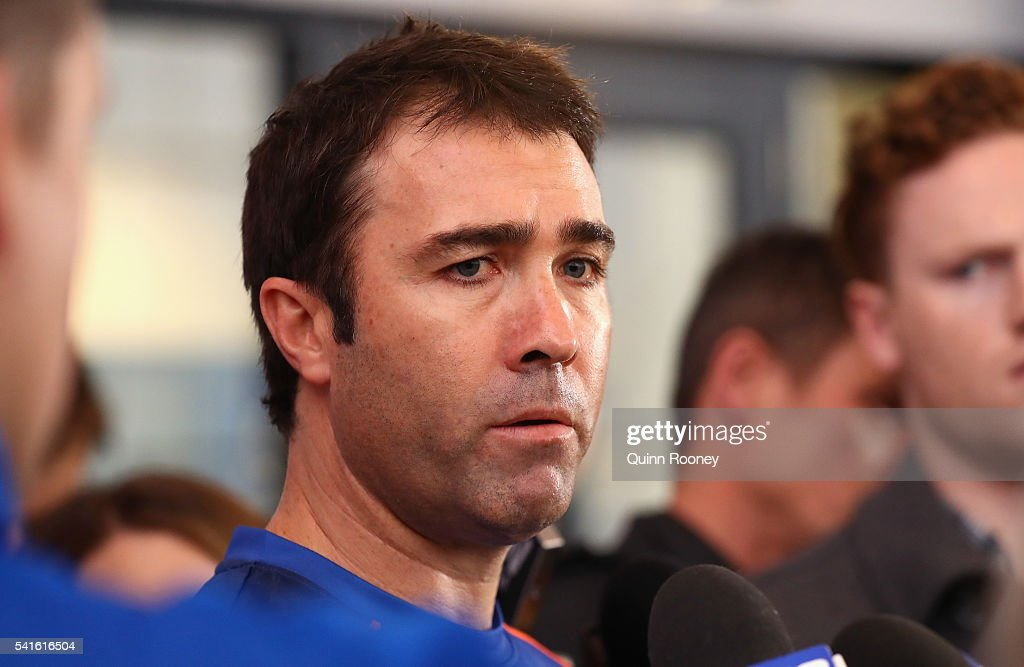 North Melbourne Kangaroos AFL coach Brad Scott talks to the media at Arden Street Ground on June 20 2016 in Melbourne Australia