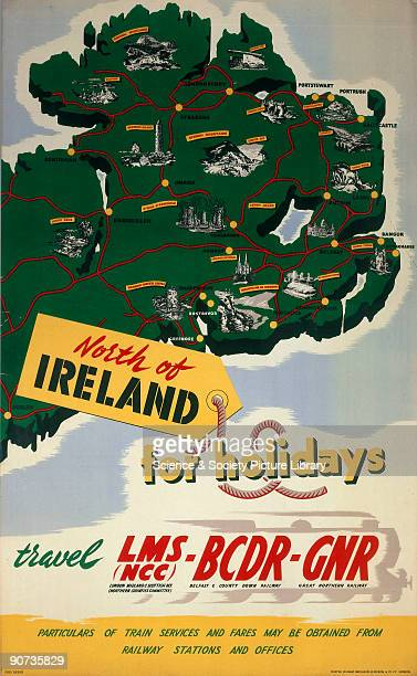 North of Ireland for Holidays' LMS BCDR and GNR poster 1950 Poster produced for the London Midland Scottish Belfast County Down and Great Northern...