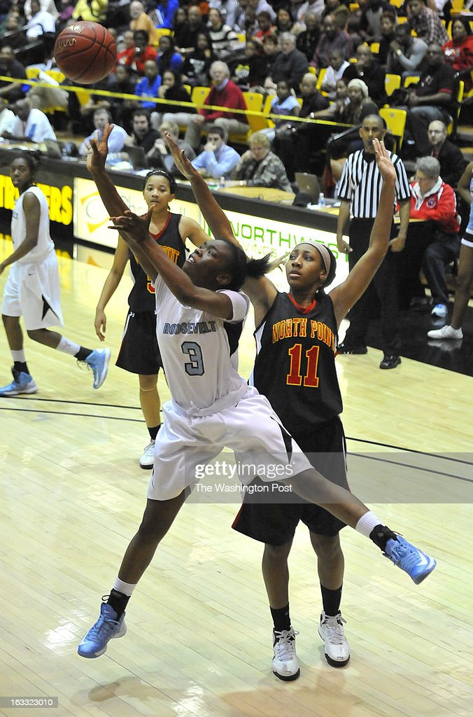 North Point's Briana Hodges failed to block the shot of Eleanor Roosevelt's Jazmin Faulkner in the Maryland 4A semifinal game at University of Maryland-Baltimore County's RAC Arena on Thursday, March 07,2013 in Catonsville, Md.