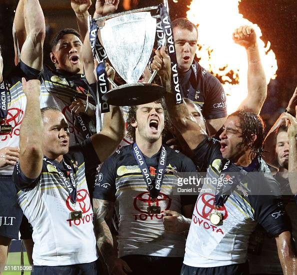North Queensland Cowboys celebrate winning the World Club Series match between Leeds Rhinos and North Queensland Cowboys at Headingley Carnegie...