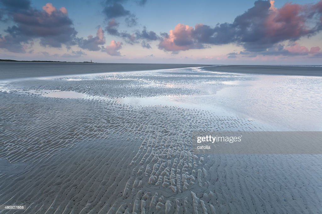 North sea coast at sunrise : Stockfoto