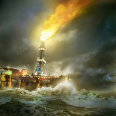North sea oil rig on stormy night (Digital Composite)
