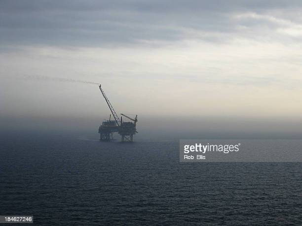 North Sea Oilrig grey dawn