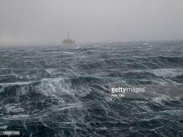 Tempête Oilrig la mer du Nord
