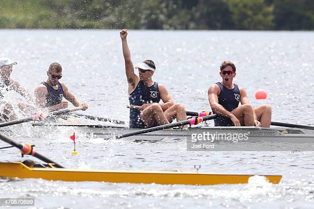 North Shore Rowing Club celebrate winning the men's senior coxless four final during the Bankstream New Zealand Rowing Championships at Lake Karapiro...